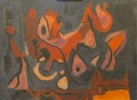 composition abstraite à dominantes rouge et bleu by paul szasz