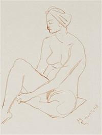 sitzender weiblicher akt by hermann geibel