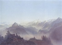 an extensive alpine landscape by christian gotthard hirsch