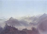 an extensive alpine landscape by christian gotthard hirsch