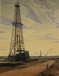 oil well, evening by arthur weaver