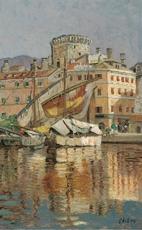 the harbour at spoleto italy by eugen ankelen
