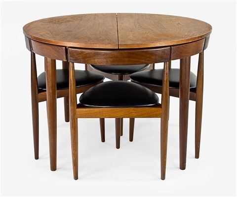 Dining Table W/4 Interlocking Chairs By Hans Olsen