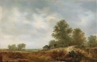 dünenlandschaft mit einem von bäumen umgebenen gehöft by jacob van mosscher