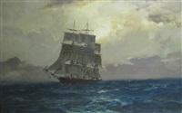 a schooner on an open sea by leslie arthur wilcox