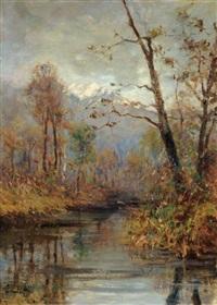 paesaggio con fiume by achille tominetti