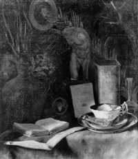 stilleben mit buch, tasse und medallion by johann heinrich limpert