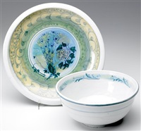 bowl painted with flowers (2 works) by arequipa pottery