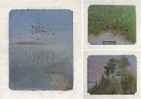 爬山虎 晚霞 (birds、ivy、sunset) (3 works) by chen ke