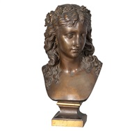 a bronze bust young lady by eugene-antoine aizelin