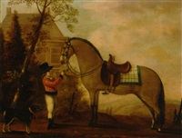 a horse and a groom before a country house by a. van den peereboom