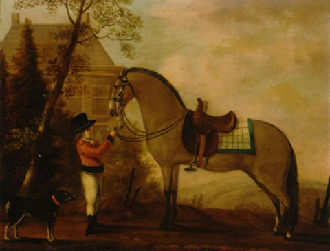 a horse and a groom before a country house by a van den peereboom