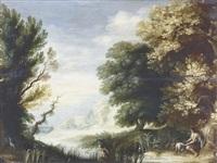 idyllische waldpartie mit einem hirten by alexander keirincx