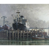 north norway, harbour study of a passenger ship, fishing boats and figures on the quayside by harry hudson rodmell