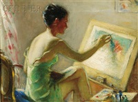 woman painting/a portrait of the artist's wife, lynn tolman by robert tolman