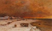 verschneites fischerdorf by yuliy yulevich (julius) klever