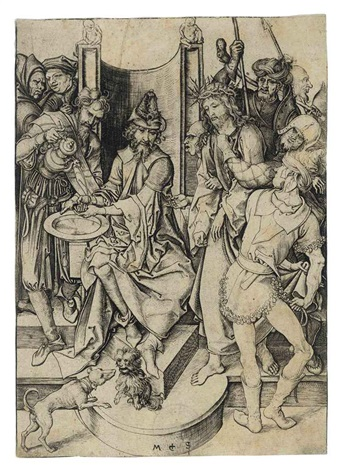 christ before pilate from the passion by martin schongauer