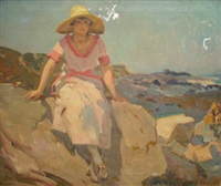 woman seated on rocks by the sea by charles walter simpson