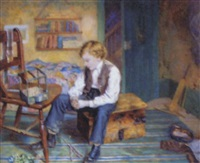 interior scene with seated boy by william b. bunney