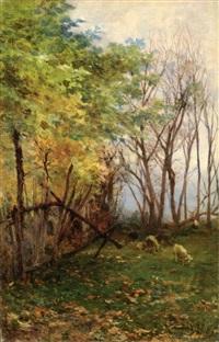 pastorellla con gregge (bosco con pecore) by eugenio gignous