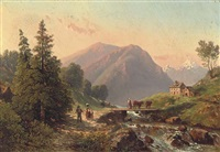 figures and cattle crossing over a ford in an alpine landscape by elisabeth fort-siméon