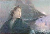 brustbild einer fischerfrau. im hintergrund blick auf das bootsstaffierte meer bei vollmond by henri auguste lauwereyns de diepenhede