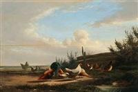 hahn und acht hühner an einem sommertag by cornelius van lemputten