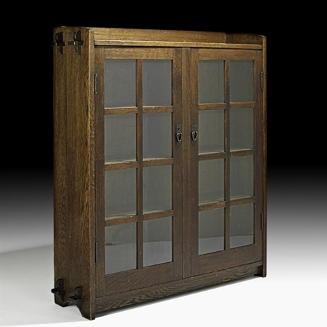 double door bookcase by gustav stickley