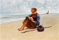 fisherwoman on the coast by august vilhelm nikolaus hagborg