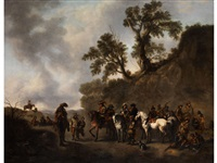 soldaten in einer landschaft by philips wouwerman