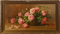 pink roses on table top by julia i. leonard