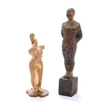 violin girl and harlekin figurine (2 works) by thomas arnel