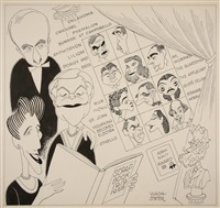 caricature for 40th anniversary of the theatre guild of nyc by george wachsteter