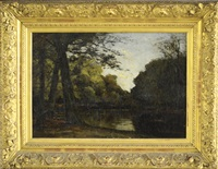 a barbizon landscape at dusk with trees and a pond by frits mondriaan