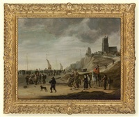 fishmongers on the beach at egmond aan zee at low tide by cornelis beelt