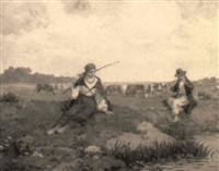 frühling - rastendes kuhhirtenpaar am bachufer by emil lindemann