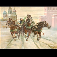 troika racing in winter at red square by anatollo sokolov