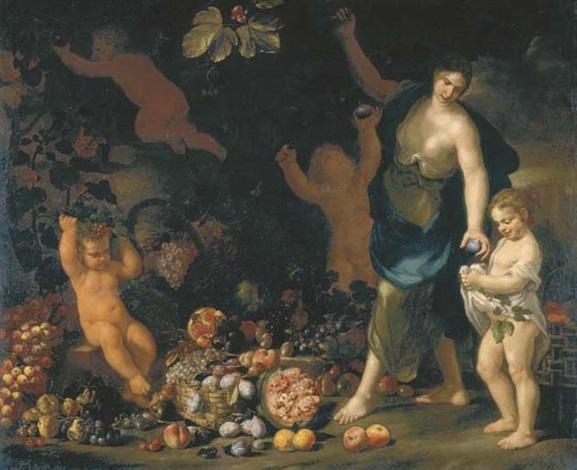 una fanciulla raccoglie frutti in un orto porgendoli a una bimba con due putti collab wabraham brueghel by nicola vaccaro