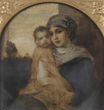 portrait of a mother and child said to be the artists wife frida scotta 1869 1949 and child in a painted tondo by friedrich august von kaulbach