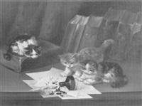 spielende kätzchen mit umgefallenem tintenbehälter by f. krantz