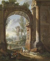schäfer und rastende soldaten vor einem antiken stadttor by giacomo van (monsù studio) lint