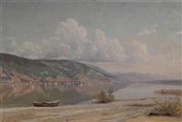 vue prise de l'île st. pierre, rivages bernois du lac de bienne by nathanaël lemaitre