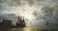 nächtliche meeresküste mit segelschiffen bei mondschein by wilhelm ferdinand xylander