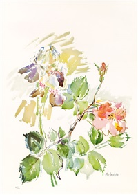 schwertlilien mit rosen by oskar kokoschka
