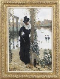 jeune femme au petit chien noir by norbert goeneutte