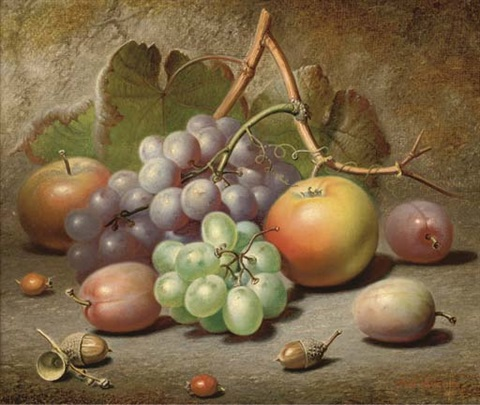 grapes apples plums and acorns on a mossy bank by charles archer