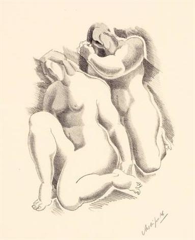female nudes weibliche akte pl 7 from dritte jahresgabe des kreises graphischer künstler und sammler by alexander archipenko