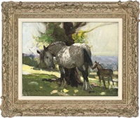 mare and foal under a tree by arthur spooner