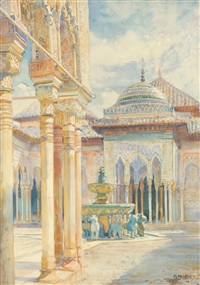 el patio de los leones (court of the lions), alhambra, granada, spain by george owen wynne apperley