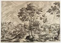 paesaggio con armenti, pastore e figure and paesaggio con due pastori e maiali (2 works) by hans bol